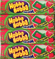 Hubba Bubba Max Strawberry Watermelon Bubble Gum 36 5-Piece Packs Free Shipping
