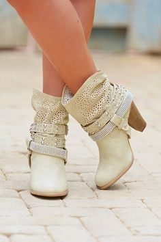 Sparkle And Shine Booties - Cream from Closet Candy Boutique