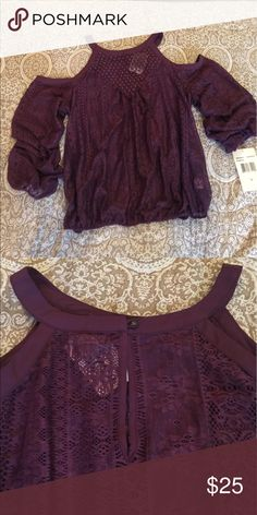 Plum off the shoulder blouse! Cute and sexy deep plum off the shoulder large blouse.  Never worn too big. Tops Blouses