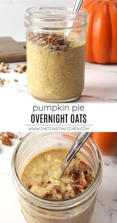 Pumpkin pie overnight oats recipe by The Toasty Kitchen. Pumpkin pie overnight oats are an easy, make-ahead breakfast with no cooking involved. This creamy oatmeal recipe includes pumpkin puree, fall spices, and maple syrup - flavors reminiscent of your favorite fall dessert! #pumpkin #overnightoats #fallbreakfast #breakfast #recipe #pumpkinpieoatmeal #nocookbreakfast #nocookmeal #oatmeal #fall Pumpkin Overnight Oats, Pumpkin Pie Oatmeal, Pumpkin Puree, Canned Pumpkin, Pumpkin Pie Spice, Creamy Oatmeal Recipe, Healthy Oatmeal Recipes, Oats Recipes, Healthy Eats