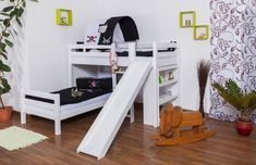 L-Shaped Bunk bed Moritz, solid beech wood, with shelf and slide, white finish, incl. slatted frames - 90 x 200 cm Safe Bunk Beds, Full Bunk Beds, Bunk Beds With Stairs, Kids Bunk Beds, Loft Spaces, Small Spaces, Play Beds, Stair Plan, Elevated Bed