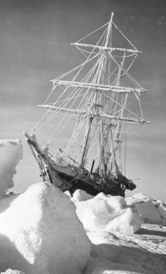 Shackleton's ship Endurance, which was the three-masted barquentine in which Sir Ernest Shackleton sailed for the Antarctic on the 1914 Imperial Trans-Antarctic Expedition. She was launched in 1912 from Sandefjord in Norway and was crushed by ice, causing it to sink, three years later in the Weddell Sea off Antarctica.