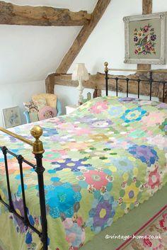 Vintage Home Shop - Pretty Pastels! Vintage Patchwork Quilt: www.vintage-home.co.uk