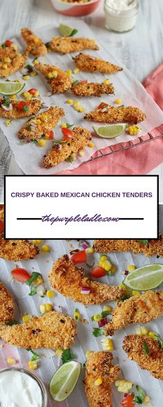 Crispy baked chicken tenders crumbed with panko bread crumbs and fajita seasoning.