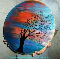 Tree painting, windy tree, contemporary tree art, acrylic tree, color wall art, sunset, wood canvas painting