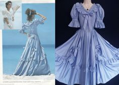 Vintage Blue Soraya Romantic Victorian Princess Ballgown Bridesmaid Dress UK 6 | eBay