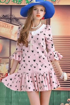 Spades Print Flouncing Dress With Peter Pan Collar Hippie Outfits, Girl Outfits, Toddler Girl Dresses, Girls Dresses, Online Fashion Stores, Sewing For Kids, All About Fashion, Scarf Styles, Girl Fashion