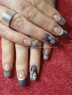 White grey and black gel polish eith freehand nail art #nails #nailart