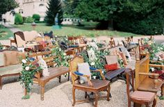 Mix n' match wedding ceremony seating takes the trend to the next level! Love it!