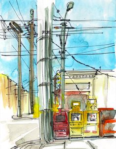 San Francisco Watercolor Art, Power Lines and Newspaper Dispensers