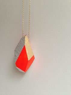 Geometric Neon Orange Handpainted Wooden Pendant with thin gold chain on Etsy, $42.00