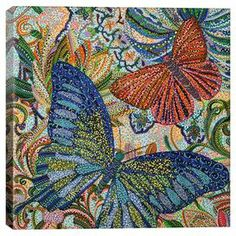 Add gallery-worthy appeal to your walls with this lovely canvas print, showcasing a butterfly motif in a pointillist-inspired style.  Product: Canvas printConstruction Material: CanvasFeatures:  Butterfly motifPointillist-inspired style