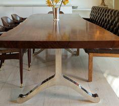 Better Leg Option Oregon Table Single Walnut Wood Slab And Chrome Base Dining
