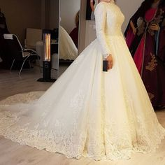 Long Sleeves Modest Wedding Dress on Luulla Muslim Wedding Gown, Muslimah Wedding Dress, Modest Wedding Dresses, Elegant Wedding Dress, Cheap Wedding Dress, Elegant Dresses, Bridal Dresses, Hijab Bride, Most Beautiful Dresses