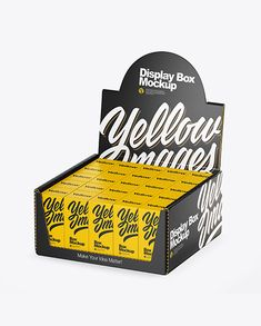 Display Box & Boxes Mockup in Box Mockups on Yellow Images Object Mockups Kraft Boxes, Carton Box, Box Mockup, Pet Bottle, Display Boxes, Creative Words, T Rex, Plastic Bottles, Cool Words
