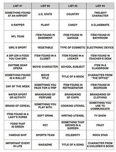 Dramatic image inside scattergories lists printable