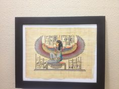 Egyptian Winged Goddess ISIS for protection Handmade Framed Papyrus Painting