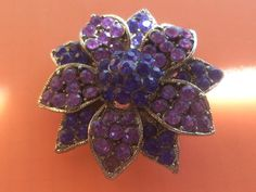 Gorgeous purple flower  brooch 1970 vintage- shades of purple, rhinestone and silver metal--Art.656 -