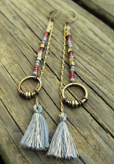Tiny Tassel Beaded Earrings Boho Chic Earrings by SaudadeIndigo