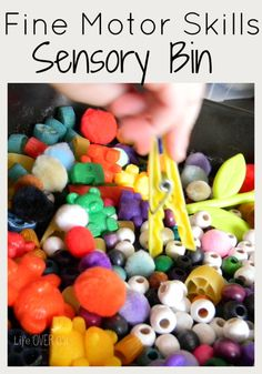 I mentioned yesterday that I made the kids some colored pasta to practice their fine-motor skills and for sensory exploration. I wanted to show you how we put it to use. In our sensory bin, I put a little bit of everything (except the kitchen sink). The common factors being that all the pieces were …