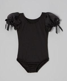 Loving this Black Puff-Sleeve Leotard - Toddler & Girls on #zulily! #zulilyfinds
