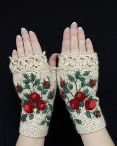Knitted Fingerless Gloves, Gloves & Mittens, Gift Ideas, For Her, Winter Accessories, Ivory, Roses,Fashion, Accessories, Fall, Autumn by nbGlovesAndMittens on Etsy https://www.etsy.com/listing/210835804/knitted-fingerless-gloves-gloves-mittens