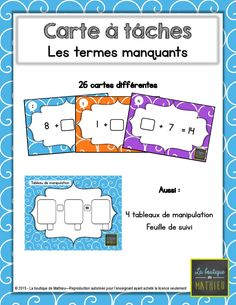 26 Cartes à tâches - Les termes manquants (additions) 4th Grade Math, Grade 1, Math Term, Math Blocks, Math Addition, Math For Kids, Number Sense, Math Teacher, Task Cards