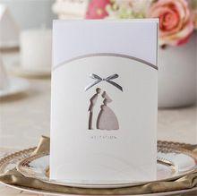 Invitación de la boda Baby Shower elegante corte láser papel de la navidad decoración fiesta del arco del Bowknot blanco romántico invitando tarjeta(China (Mainland))