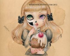 Sweet Loneliness LIMITED EDITION print signed numbered Simona Candini lowbrow pop surreal big eyes sugar skull cupcake gothic art