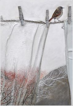 Elfi Cella: uses fabrics, artifacts on her canvases
