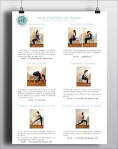 Pause étirement au travail: 10 exercices d'étirement à réaliser au bureau - Objectif Santé Forme, le blog bien-être de Julie-Catherine Gagnon Effort, Yoga, Workout, Sports, Relaxation, Exercises, Purpose, Desk, Shape