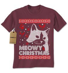 Meowy Chirtsmas Ugly Christmas Holiday Mens T-shirt