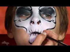 How To Do Skull Face Paint for Kids - YouTube