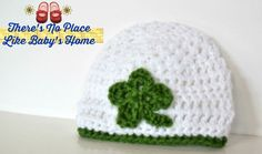 Crochet Baby Hat - St. Patricks Day beanie - white and green infant - Children's Photo Props - Shamrock newborn hat -by NoPlaceLikeBabysHome on Etsy