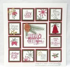 It's a great idea to have a 12 x 12 frame not just for scrapbook pages but also for samplers. You can make one for each season and/or ho. Christmas Frames, Stampin Up Christmas, Christmas Paper, Christmas Projects, Holiday Crafts, Xmas Photo Frames, Ppr, Candy Cards, Christmas Scrapbook