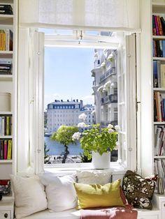 window seat + book shelves