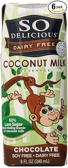 So Delicious Chocolate Coconut Milk Shelf Stable, 4 Count, 8 Ounce (Pack of 6)