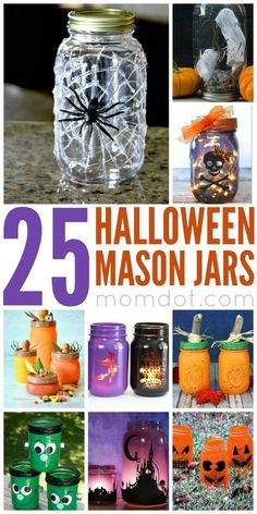 Mason Jar Crafts Our top pics for Halloween Mason Jars! I have also a few new ones here on MomDot, and you can grab those tutorials at Pink Sludge and Catch a Spider by Its Toe Mason jar. Pot Mason Diy, Mason Jar Gifts, Fall Mason Jars, Mason Jar Fall Crafts, Wine Bottle Crafts, Jar Crafts, Diy Halloween Decorations, Halloween Diy, Diy Halloween Mason Jars