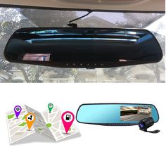 Free shipping 4.3 inch car rearview mirror dvr car FHD 1080p car driving video recorder camera car reverse image dual lens