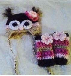 Crocheted owl hat and leg warmer set found on etsy@ memawscountrycrafts
