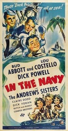 IN THE NAVY MOVIE POSTER Abbott and Costello VINTAGE - PRINT IMAGE PHOTO -PW0