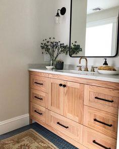 Oak Bathroom Vanity, Bathroom Renos, Small Bathroom, Wood Vanity, Bathroom Ideas, Earthy Bathroom, Wooden Bathroom Cabinets, Condo Bathroom, Neutral Bathroom