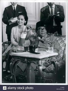 President SUKARNO of Indonesia with his last wife DEVI at a press conference at Merdeka Palace in Jakarta.