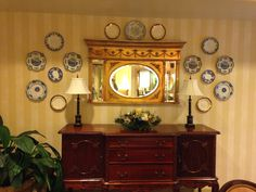 Plate display on the wall.