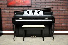Classic black. Schafer & Sons Queen Anne Console. #piano #paintedpiano #pianorevivalproject