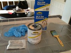 How To Paint Tile, Tub, or Sink - product from Home Depot - LiveLoveDIY (I wonder how this holds up  !?!?!?)