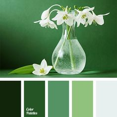 Shades of Green - February 2 - Color Combo of the Day #webdesign #design #inspiration #color #green #lily #spring
