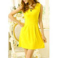 Solid Color Sleeveless V-Neck Wide Hem Nipped Waist Slimming Dress For Women