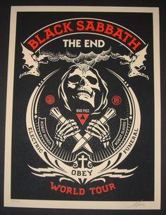 Shepard Fairey Black Sabbath Poster Print The End Tour Red Variant S/N 2016