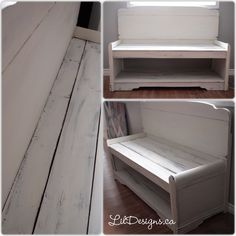 Repurposed Headboard turned into bench Old Headboard, Annie Sloan Old White, White Chalk Paint, Repurposed, Bench, It Is Finished, Shelves, Storage, Furniture